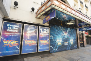 Exterior of the Adelphi Theatre with newly painted Back to the Future mural - Photo: Andy Paradise
