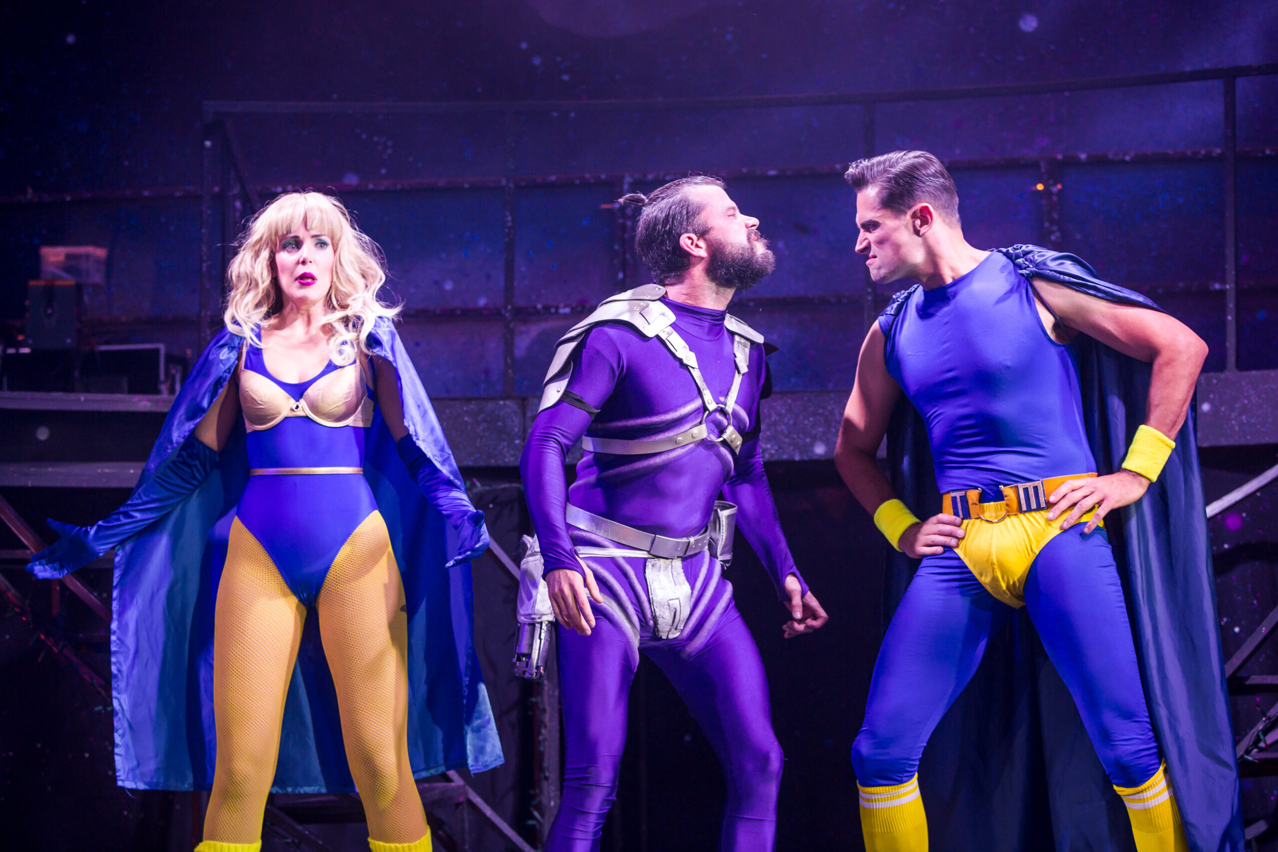 Emily Tierney as Super Hot Lady, Neil McDermott as Evil Lord Hector and Simon Thomas as Tough Man - Photo: Scott Rylander