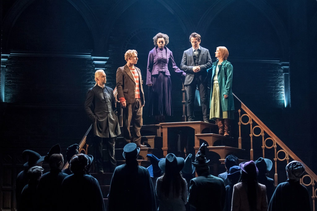 Alex Price as Draco Malfoy, Paul Thornley as Ron Weasley, Noma Dumezweni as Hermione, Jamie Parker as Harry Potter and Poppy Miller as Ginny - Photo by Manual Harlan