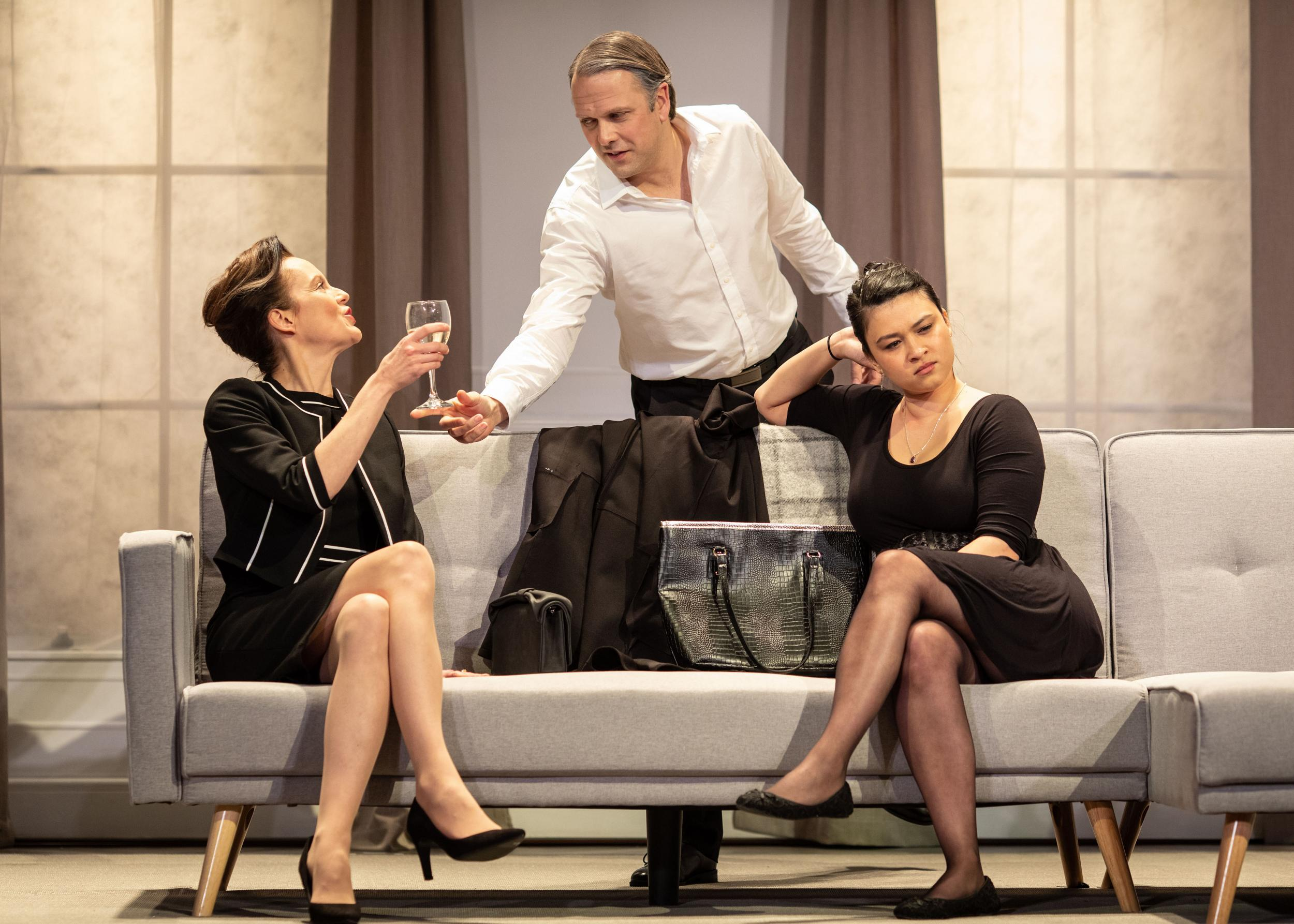 Rachel Stirling as Sandra, Nicholas Burns as Kenneth and Isabella Laughland as Rose - Photo: Helen Maybanks